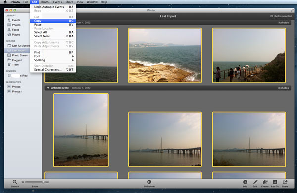 move photos and videos from iPad to Mac with iPhoto