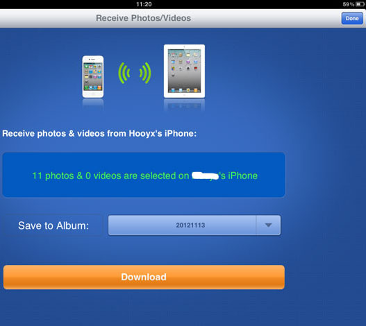 Create a new album or select an existing album and tap the download